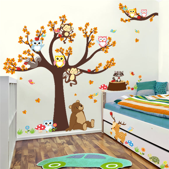 Forest Tree Branch Leaf Animal Cartoon Owl Monkey Bear Deer Wall Stickers