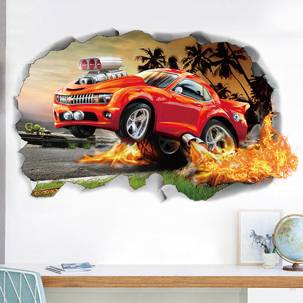 Wall offroad car wall stickers for kids rooms boys bedroom wall decals pvc adhesive home decor