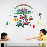 Animal car wall stickers for kids rooms nursery boys bedroom children decals vinyl home decoration self adhesive film