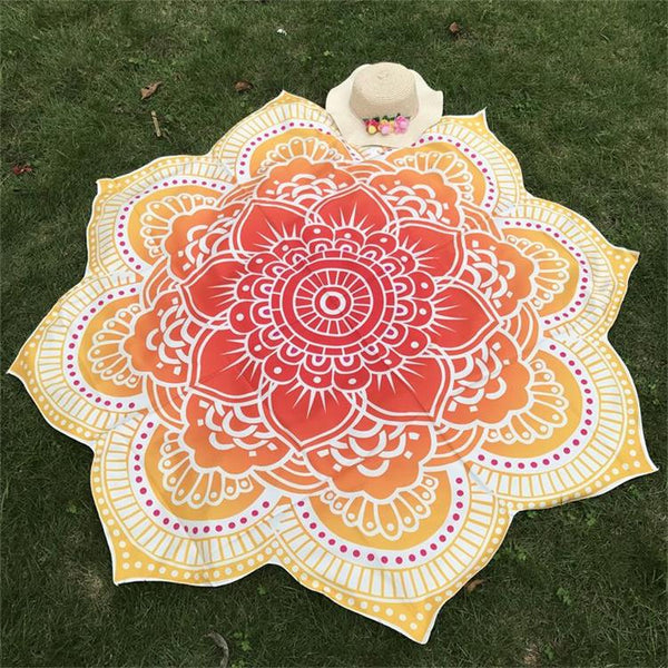 Glorious Lotus Flower Shape Indian Mandala Tapestry Wall Hanging Beach Throw Mat Hippie Bedspread Gypsy Yoga Mat Blanket 150 cm