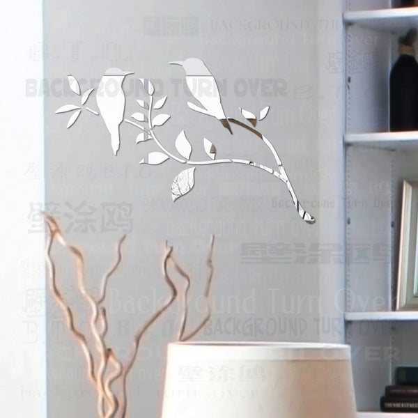 Graceful Magpie Bird Tree 3D Decorative Acrylic Mirror Wall Stickers Home Living Room Bedroom Decor Room Door Decoration R053