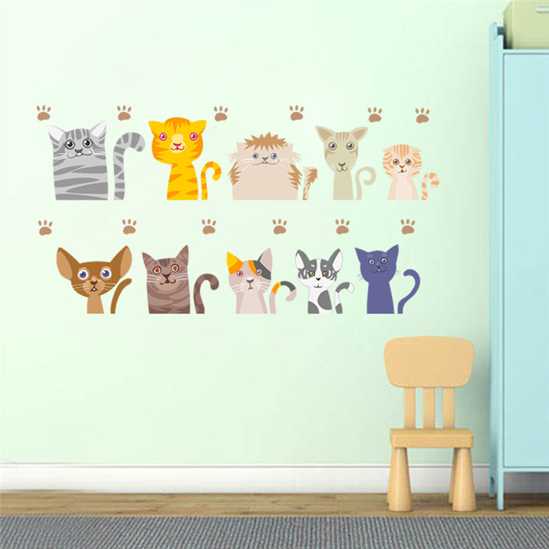 Cats Wall Stickers For Kids Rooms Nursery Room Decor Mural Poster