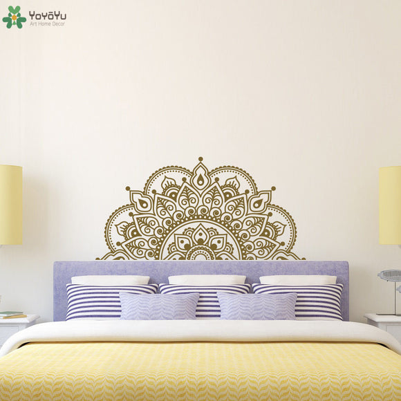 Half Mandala Flower Wall Decal Modern Design Buddha Vinyl Moraccan Headboard Wall Sticker Master Bedroom Home Decor Art