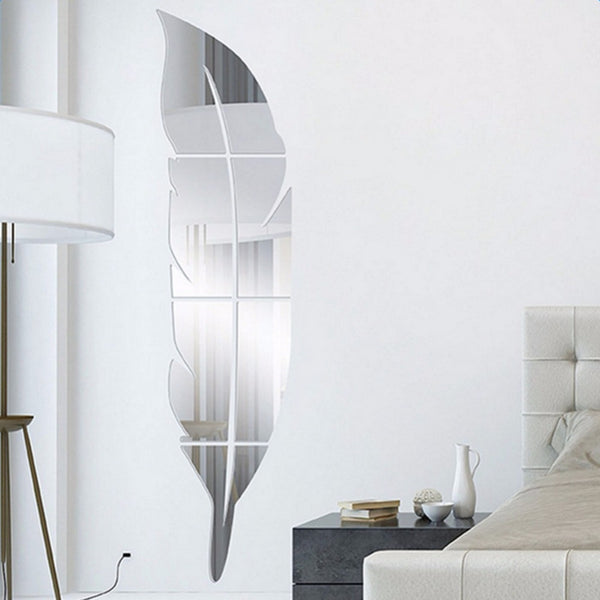 Modern Feather Acrylic Mirror Wall Stickers Room Decoration Silver Bedroom Home Decor