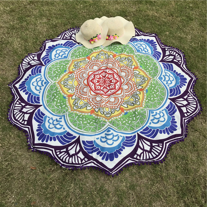 Tassel Indian Mandala Tapestry Lotus Printed Bohemian Beach Mat Yoga Mat Sunblock Round Bikini Cover-Up Blanket