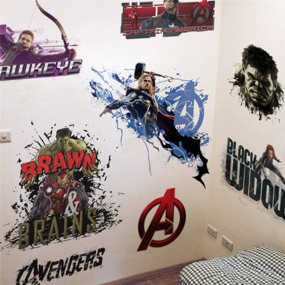 Hulk super heros wall stickers kids room decor avengers diy pvc home decals cartoon movie mural art poster