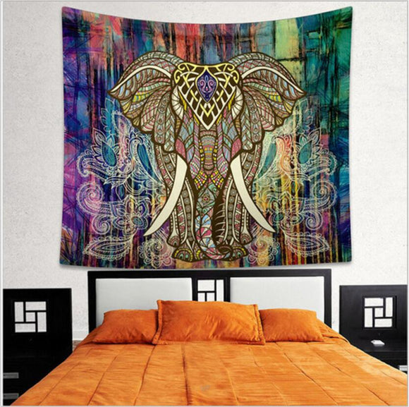 Indian Elephant Tapestry Aubusson Colored Printed Decor Mandala Wall Carpet Bohemia Beach Mat Blanket Plus Size