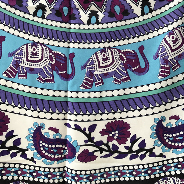 Indian Elephant Type Round Scarve Fashion Mandala Tapestry Beach Mat Picnic Rug Blanket Polyester Lawn Mat Beach Tippet