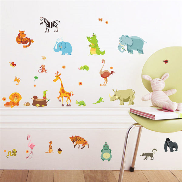 Jungle Forest Animals Safari Wall Stickers for Kids Rooms Nursery Rooms Baby Home Decor Poster Monkey Wall Decals