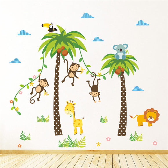Jungle Wild Animals Giraffe Lion Monkey Palm Tree Wall Stickers