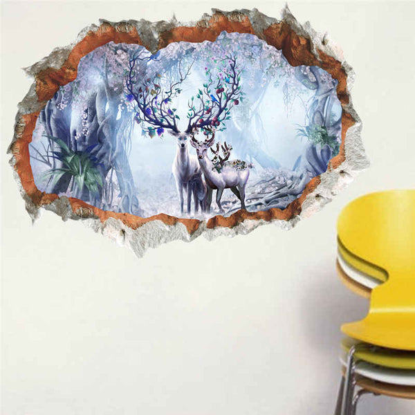 Jungle Wild Deer Wall Stickers For Kids Rooms 3D Vivid Wall Decals Poster Mural Living Room Bedroom Home Decor