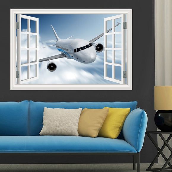 Landscape Wallpaper Airplane 3D Wall Sticker Decal Vinyl Wall Art Mural Large Window View Blue Sky Home Decor Living Room