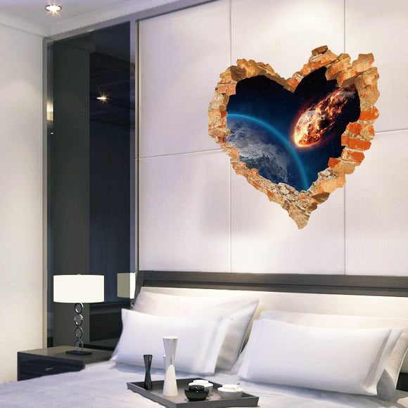 Love Heart Broken Wall Outer space wall Stickers Decals Art Living room Bedroom Home decor 3d Effect Poster