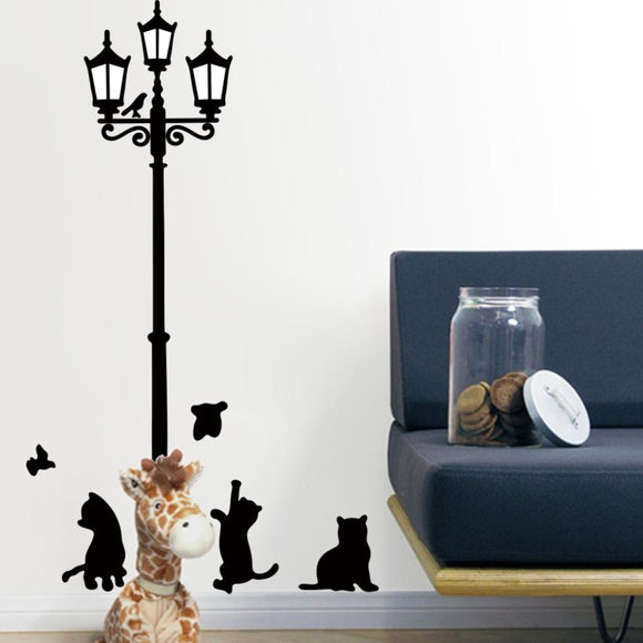 Lovely cats playing with Butterfly around lamppost wall decal ZooYoo030S decorative removable pvc wall sticker