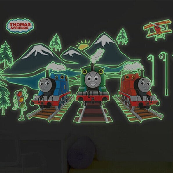 Luminous stickers wall stickers thomas and friends Wall Sticker Cartoon Train Castle Wall Decals Wall Stickers for Kids Rooms