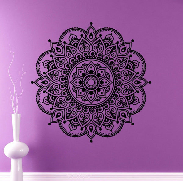 Mandala Wall Vinyl Decal Indian Ornament Sticker Indian Religions Home Decor Mehendi Pattern Removable Murals Housewares Design