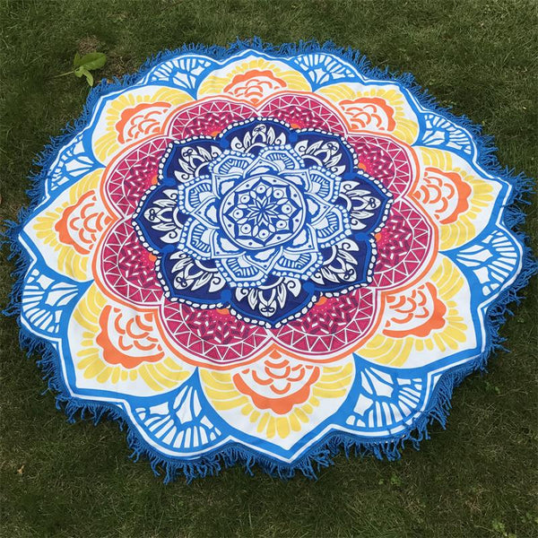 Tassel Indian Mandala Tapestry Lotus Printed Bohemian Beach Mat Yoga Mat Sunblock Round Bikini Cover-Up Blanket Microfiber Towel