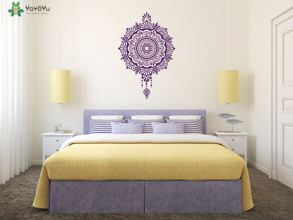 Moraccan Style Wall Decal Master Bedroom Headboard Vinyl Wall Stickers Beautiful Mandala Flower Sticker Namaste Yoga Studio