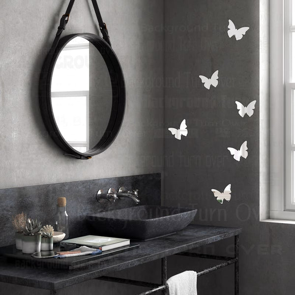 Multiple Pieces Butterfly Mirror Wall Stickers Acrylic 3d sticker Party Wedding Decor Home Decorations Diy Decals Mural R205