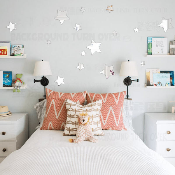 Multiple Pieces Lovely Reflective Star Wall Sticker Mirror Kids Children baby room acrylic mirrored decorative sticker R065