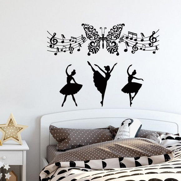 Music Wall Decals Removable Butterfly Art Vinyl Wall Sticker Music Note Home Art Mural Ballerina Ballet Dance Girls Decor AY553