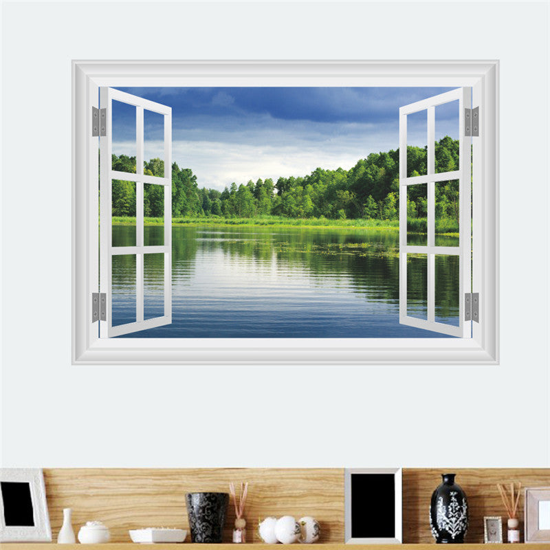 Natural Scenery Froest Lake Wall Sticker Living Room Bedroom TV Background Sofa Home Decor 3D Window Wall Decals Mural Poster