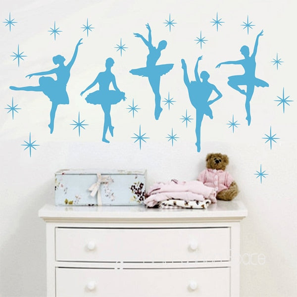 Ballet Dance Ballerinas Stars Custom Vinyl Wall Decals Art Stickers Nursery Kids Girls Room Decor