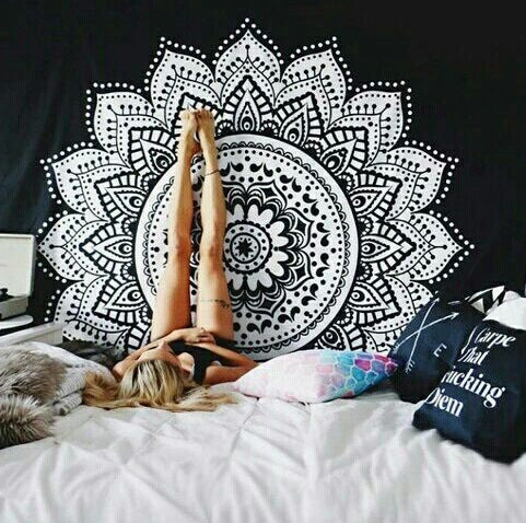 Printed Lotus Tapestry Bohemia Mandala Tapestry Wall Hanging For Wall Decoration Hippie Tapestry Beach Mat Yoga Mat