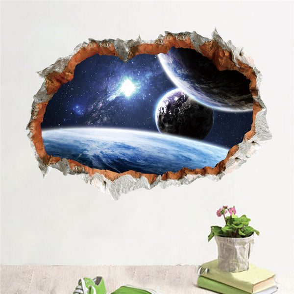 Outer Space Planet Wall Sticker 3D Effect Through Wall Home Decor Galaxy Mural Decals Living Room Bedroom Decoration