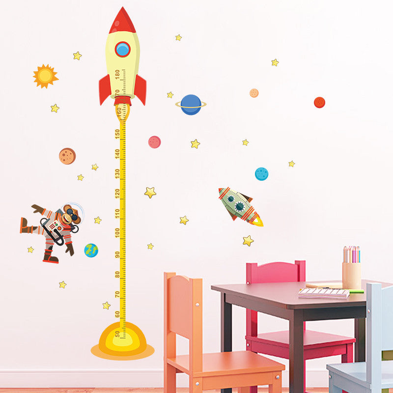 Cartoon outer space rocket Height Measure Wall Sticker For Children Room Decor Z