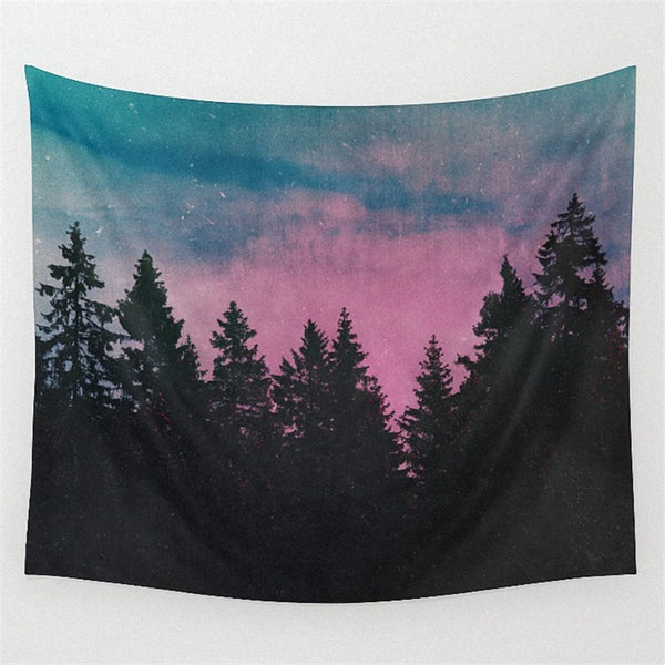 Forest Tree Tapestry 150X130cm Wall Hanging Throw Mat Blanket Home Room Art Wall Decor Beach Mat Picnic Cloth