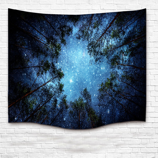 Forest Trees and Stars Starry Sky Fabric Wall Hanging Tapestry Decor Polyester Curtains Plus Long Table Cover