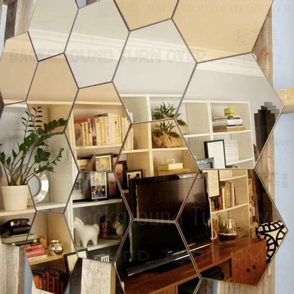 Regular Hexagon Honeycomb Decorative 3D Acrylic Mirror Wall Stickers Living Room Bedroom Poster Home Decor Room Decoration R229