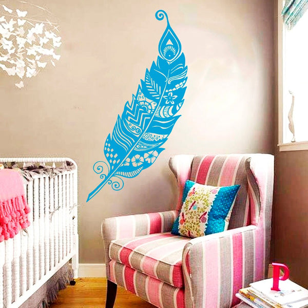 Feather Peafowl Bird Pattern Nature Removable Wall Decal Vinyl Sticker for living room home wall decoration
