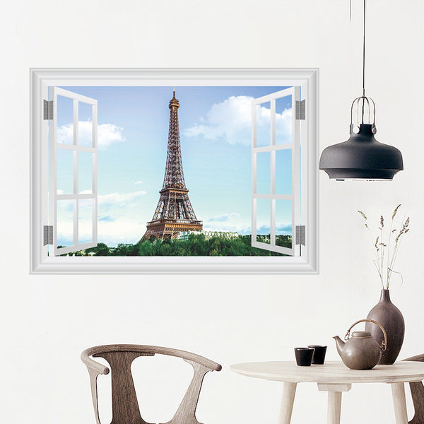Romantic Scenery Eiffel Tower Wall Stickers Living room bedroom Restaurant decoration 3d Vivid window Wall Decals Home Decor