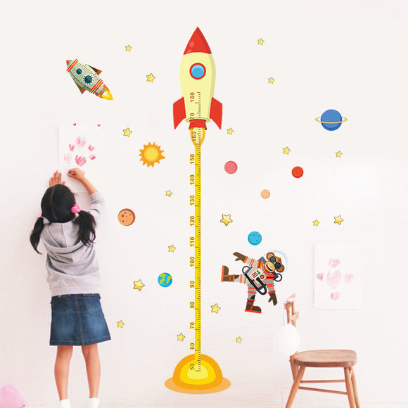 Solar System Rocket Height Measure Chart Wall Stickers For Kids Rooms Outer Space Sky Rocket Wall Decals Astronaut Monkey Poster