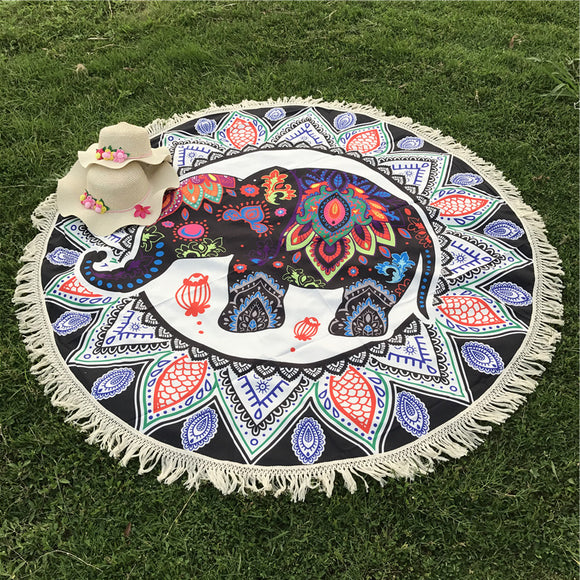 Indian Elephant Mandala Flower Bohemia Tassels Tapestry Wall Hanging Beach Throw Mat Hippie Bedspread Yoga Mat Blanket