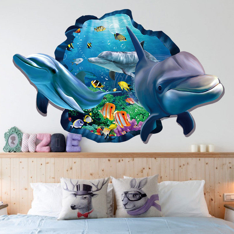 Underwater Fish Dolphin 3d Vivid Window Wall Stickers DIY Wall decals Bathroom Living Room Bedroom Bathroom Decoration Poster