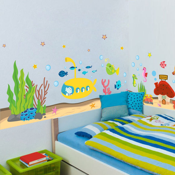 Underwater Sea Fish Shark Bubble Submarine Cartoon Wall Stickers Decals
