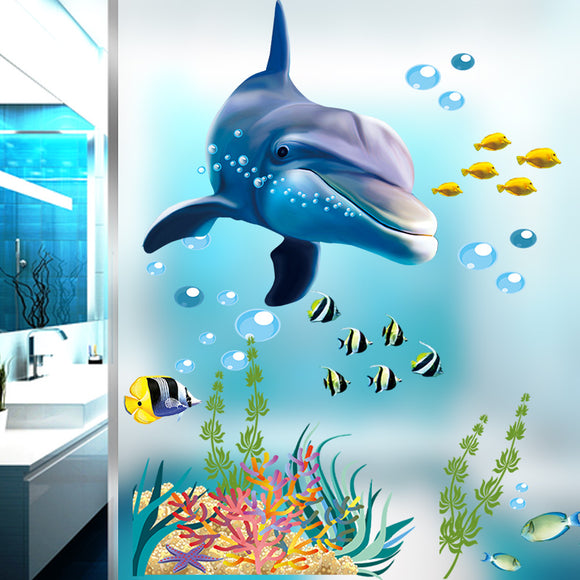 Underwater Sea Fish Shark Bubble Wall Stickers For Kids Rooms Cartoon Ocean Window Bathroom Bedroom Wall Decals