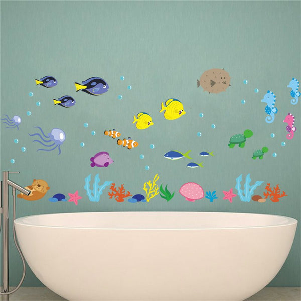 Underwater Sea Fish Wall Stickers bathroom Toilet Nursery Wall decals Home decor Art Mural Poster