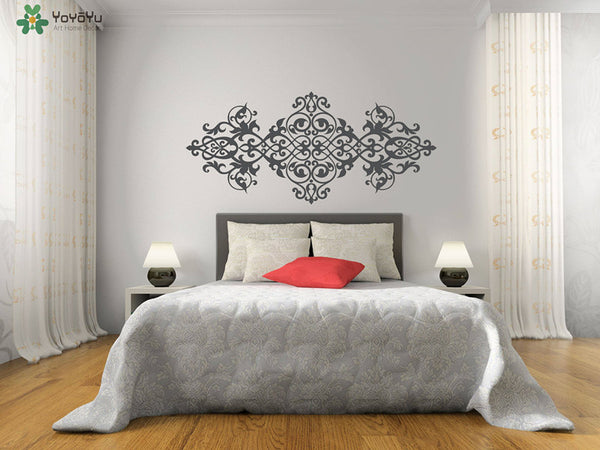Vintage Headboard Wall Decal Baroque Style Design Mandala Flower Vinyl Wall Stickers Master Bedroom Moraccan Art Mural