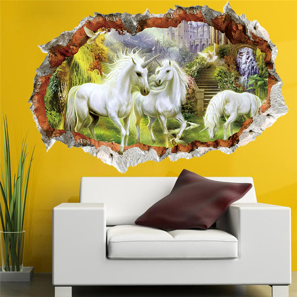 White Unicorn Horse Grass Wall Sticker For Kids Room 3d effect Window Children Bedroom Living Room Decor Wall Decals Art Mural