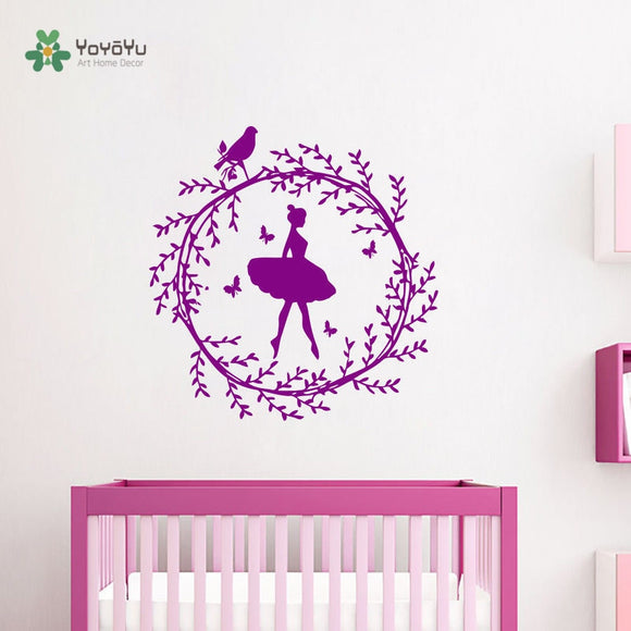Ballerina Girl Wreath On The Bird DIY Kids Room Simple Art Removable Home Decor Stickers