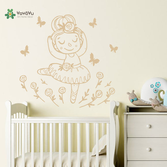 Wall Decal Cute Cartoon Little Ballerina Girl Kids Room Art Home Papel De Parede Para Quarto Stickers