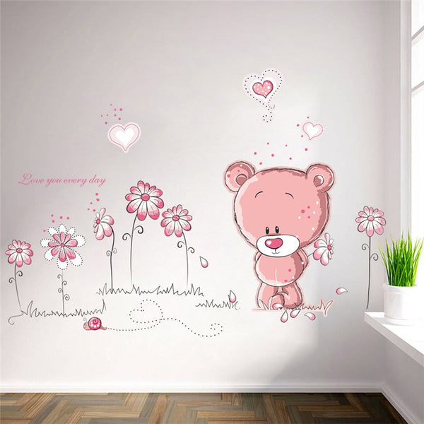 bear flower wall stickers for kids rooms children room kindergarten home decor baby shower wall decals