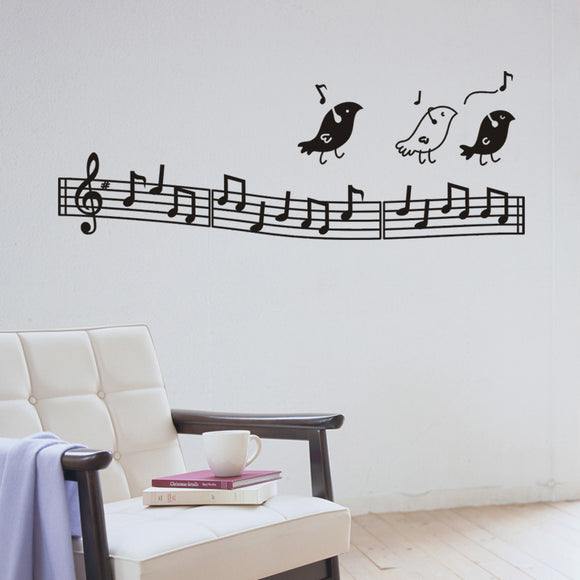 birds listening to music wall art stickers for living room diy home decor removable vinly decals black