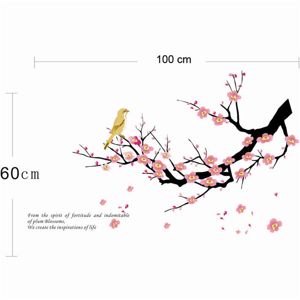 Birds on branch plum blossom flowers tree pvc wall art