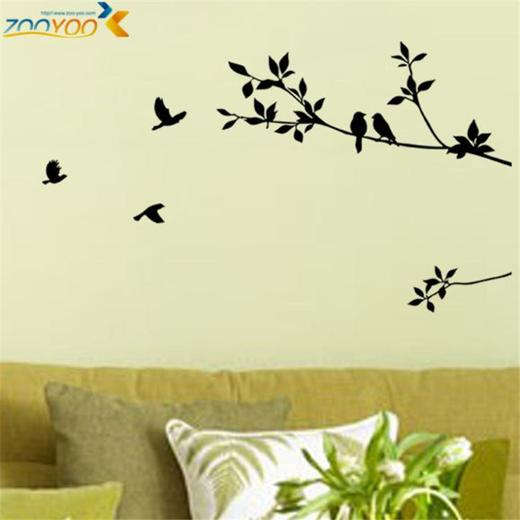 Birds on branches tree wall decals decorative sticker removable vinyl bird stickers