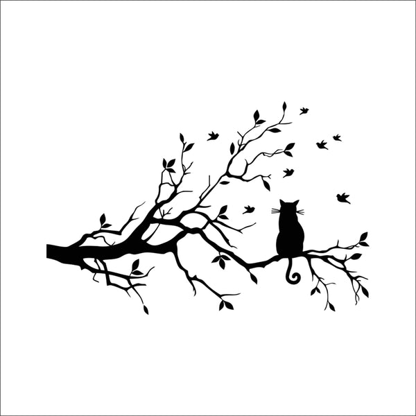 black cat on tree branch wall decals for kids room living room art home decoration removable stickers diy vinyls